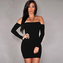 Dress Off Shoulder Long Sleeve Solid Color - dealod