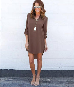 Chiffon Dress V neck - dealod