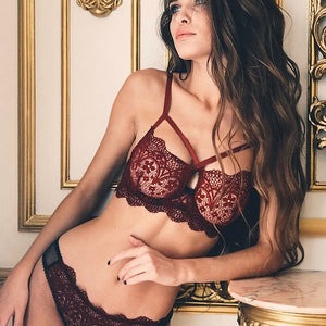 Lace Bra with G-string - dealod