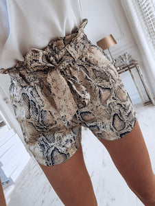 Snake Skin Shorts High Waisted Stylish Tie Belt Short - dealod