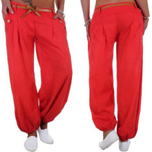 Button Harem Pants Trousers with Waistband - dealod