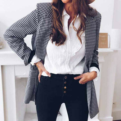 Blazer White and Black Plaid Long Sleeve - dealod