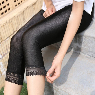 Calf-Length Pants Slim Solid Shiny pants - dealod