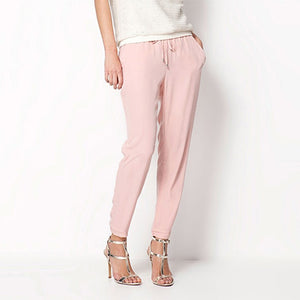 Drawstring Elastic Waist Chiffon Trousers - dealod