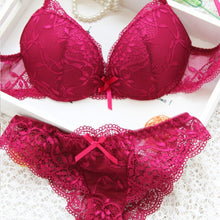 Underwear Satin Lace Embroidery Bra Sets With Panties - dealod