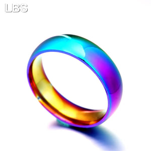 Rainbow Colorful Ring Titanium Steel - dealod
