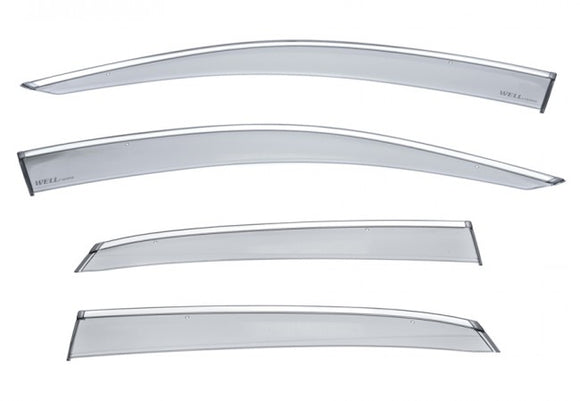 WELL VISOR FOR HONDA CIVIC 5 DOOR HATCHBACK 2017+ WITH CHROME TRIM