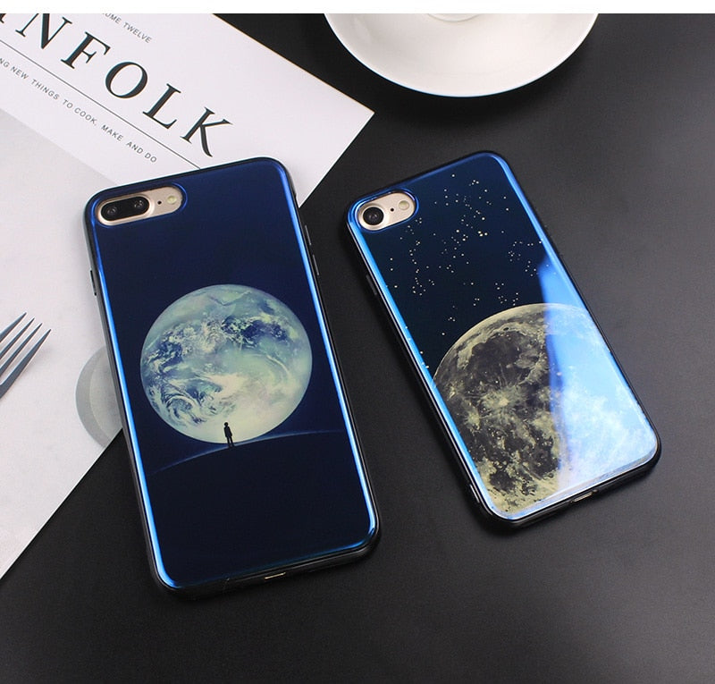 Planet & Moon Blue Ray Shiny Gloss Case for iPhone