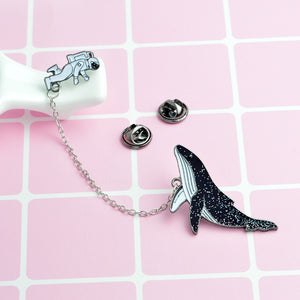 Whale & Astronaut Night Space Enamel Lapel Pin