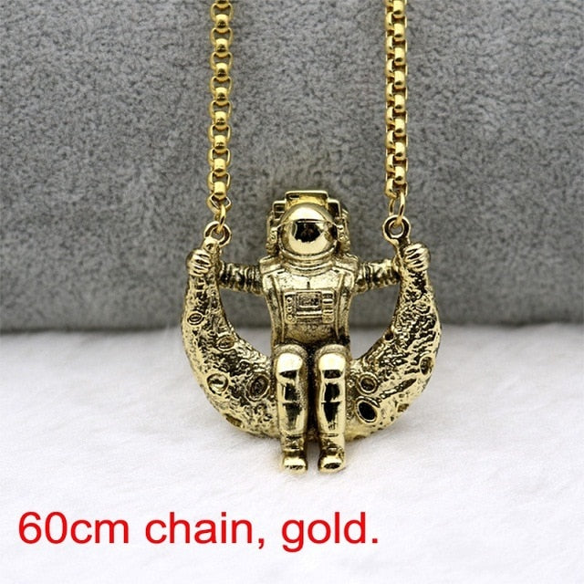 Astronaut On The Moon Necklace