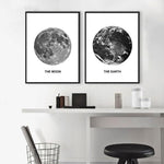 Moon and Earth (Black & White)