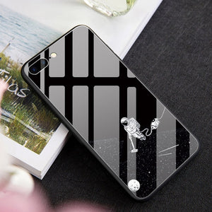 Black & White Space tempered Glass Cases for iPhone
