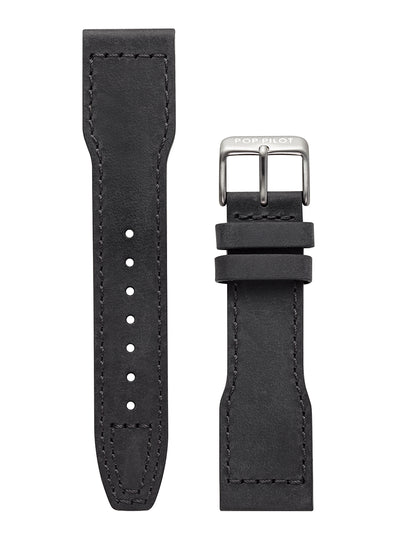 POP-PILOT® Leather Strap NERO, Black 22mm, black buckle