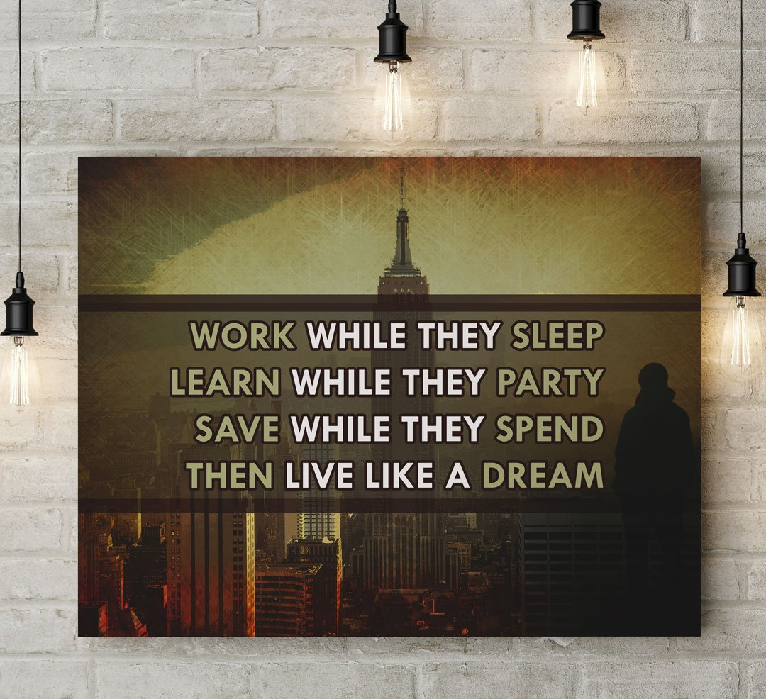 Canvas Wall Art   Live Like They Dream  - Wood Frame 40  x.   & Canvas Wall Art Decor For Office Business Inspiration u0026 Motivation ...