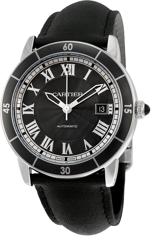 Cartier Ronde De Croisier Leather Automatic Mens Watch WSRN0003