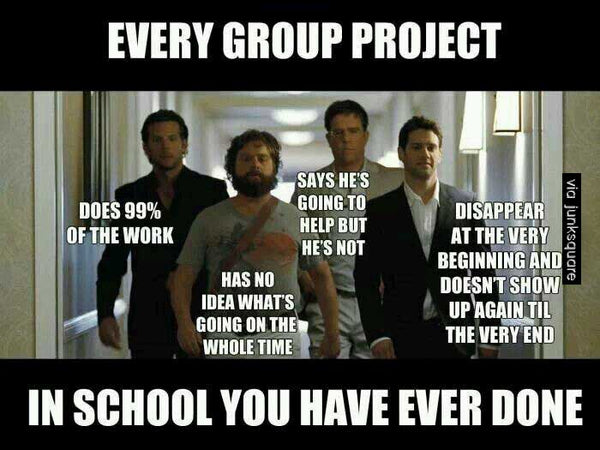 Teacher meme - Image of the actors from The Hangover representing all of the student members of a school group project