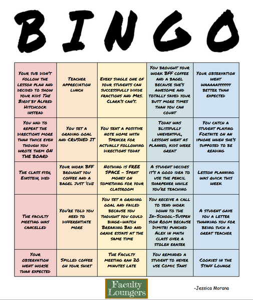 Funny teacher bingo game for situations that all teachers find themselves in