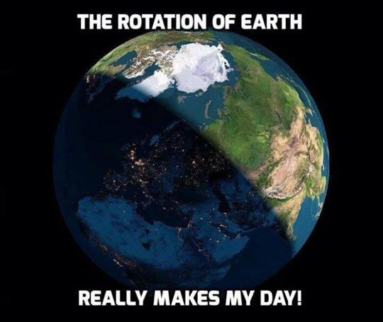 science meme about the rotation of the earth