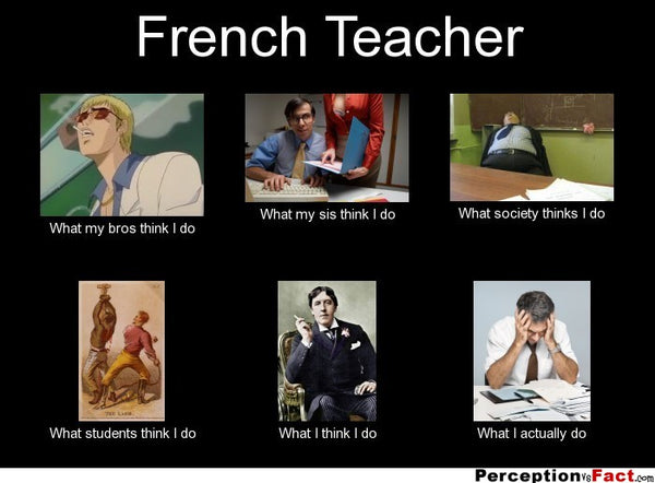 French teacher meme showing what your boss friends students and family think you do compared to what you really do