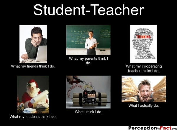 Funny student teacher meme showing what friends parents teachers and students think they do compared to what they really do