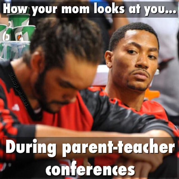 Teacher meme about mothers looking at students during parent teacher conferences