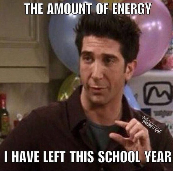 Ross from Friends in a Funny Teacher meme showing the tiny bit of energy teachers have left for the school year