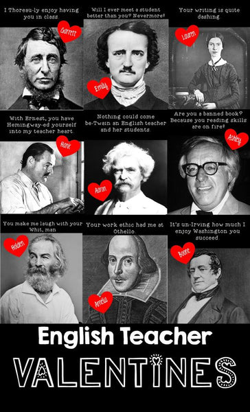 Funny Valentine's Day Teacher puns for English teachers with famous writers