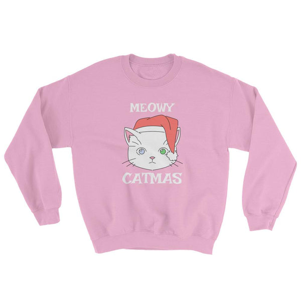 Cute Christmas Cat Sweatshirt Meowy Catmas-Faculty Loungers