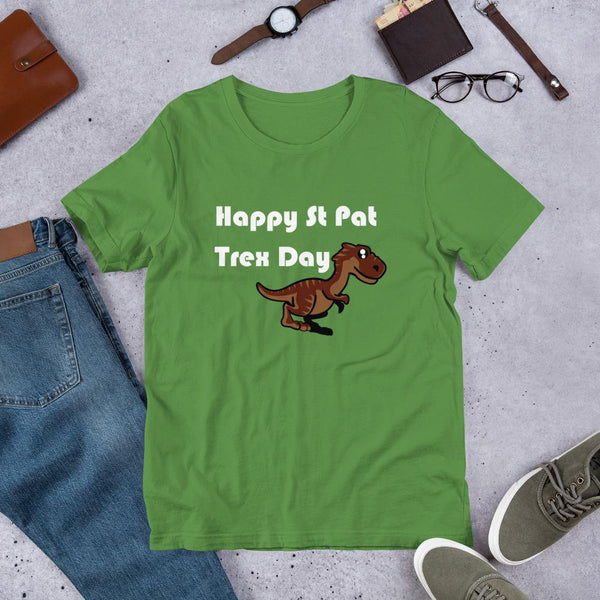 Cute Dinosaur St Patrick's Day Shirt - Happy St Pat Trex Day-Faculty Loungers
