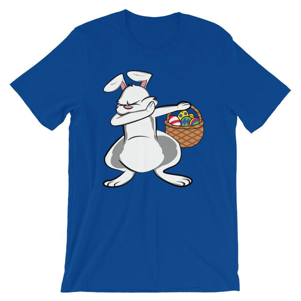Dabbing Easter Bunny T-Shirt with Easter Egg Basket-Faculty Loungers