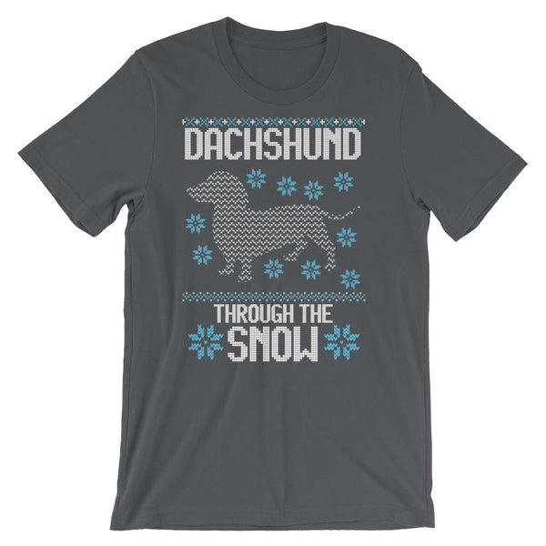 Dachshund Through the Snow Funny Ugly Christmas Sweater Style Tee Shirt