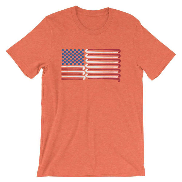 Field Hockey Coach Short-Sleeve Gift T-Shirt - American Flag Field Hockey Sticks-Faculty Loungers