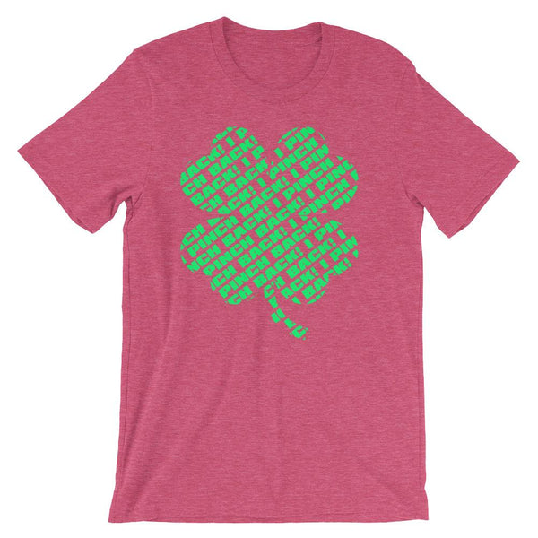 Fun shirt to wear to work on St Patrick's Day that has a green four leaf clover made up of the words I Pinch Back - Unisex heather raspberry pink colored t-shirt