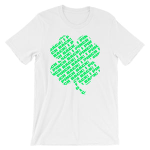 Fun shirt to wear to work on St Patrick's Day that has a green four leaf clover made up of the words I Pinch Back - Unisex white colored t-shirt