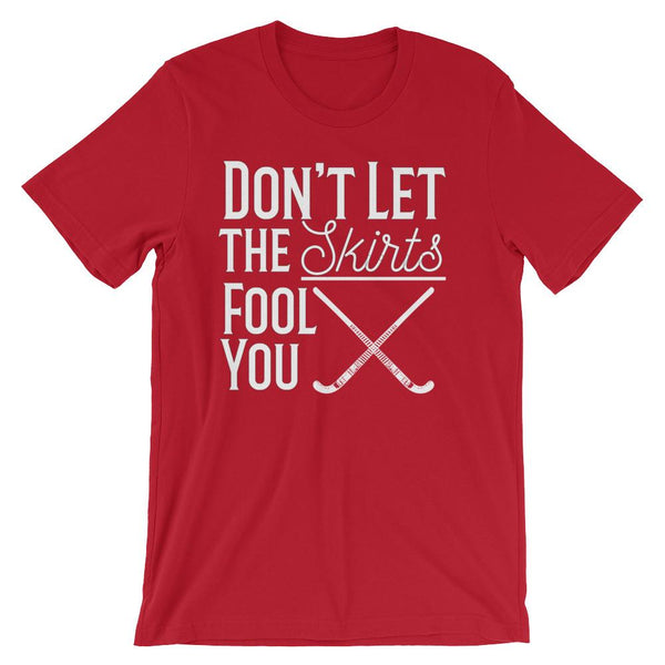 Funny Field Hockey Coach Tee Shirt, Don't Let the Skirts Fool You-Faculty Loungers
