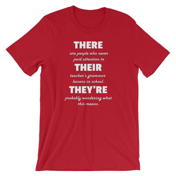 Funny Grammar Shirt for English Teacher - There Their They're-Faculty Loungers