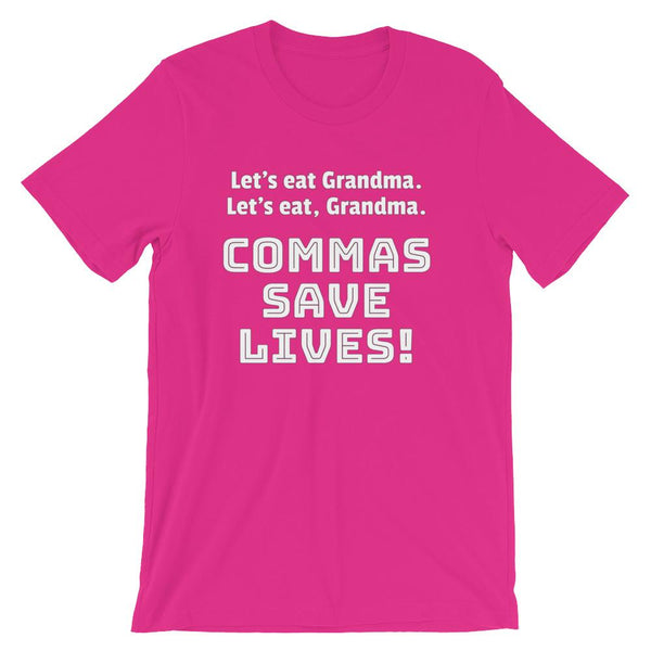 Funny Grammar Shirt for English Teachers, Commas Save Lives!-Faculty Loungers