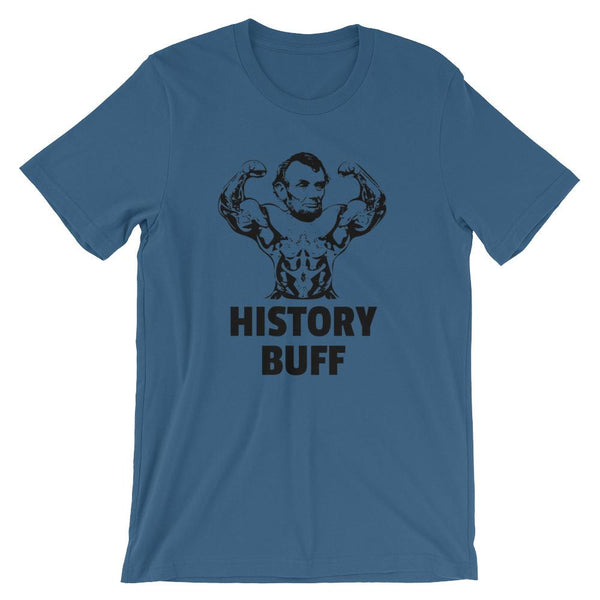 History Buff Tee Shirt, Abraham Lincoln with Muscles-Faculty Loungers