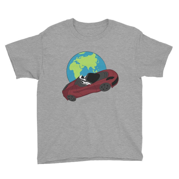 Kid's starman t-shirt Inspired by the SpaceX Falcon Heavy Starman in a Tesla launched by Elon Musk. This children's shirt has the astronaut mannequin driving a Tesla Roadster in space in front of earth. The shirt is colored grey