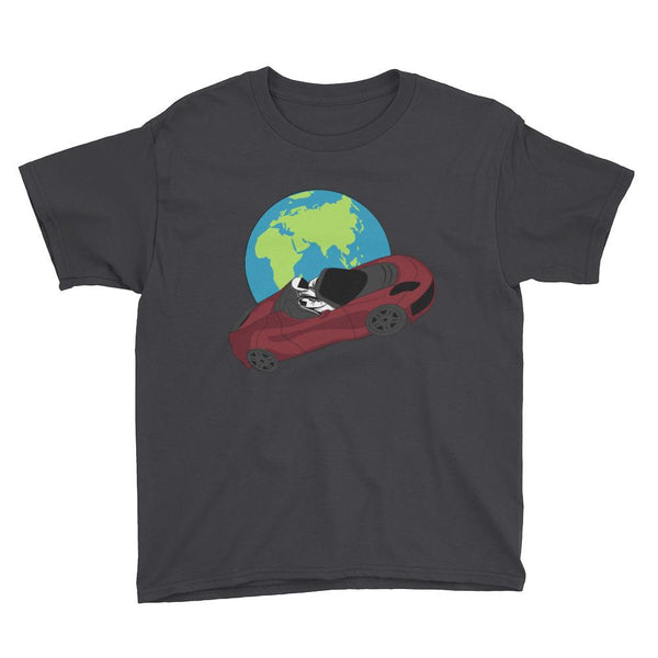Kid's starman t-shirt Inspired by the SpaceX Falcon Heavy Starman in a Tesla launched by Elon Musk. This children's shirt has the astronaut mannequin driving a Tesla Roadster in space in front of earth. The shirt is colored black