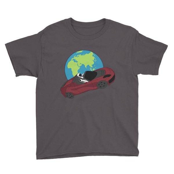 Kid's starman t-shirt Inspired by the SpaceX Falcon Heavy Starman in a Tesla launched by Elon Musk. This children's shirt has the astronaut mannequin driving a Tesla Roadster in space in front of earth. The shirt is colored charcoal