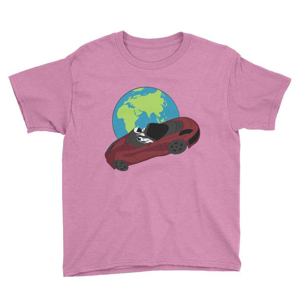 Kid's starman t-shirt Inspired by the SpaceX Falcon Heavy Starman in a Tesla launched by Elon Musk. This children's shirt has the astronaut mannequin driving a Tesla Roadster in space in front of earth. The shirt is colored Heather Hot Pink