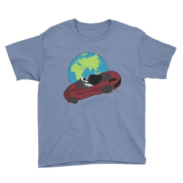 Kid's starman t-shirt Inspired by the SpaceX Falcon Heavy Starman in a Tesla launched by Elon Musk. This children's shirt has the astronaut mannequin driving a Tesla Roadster in space in front of earth. The shirt is colored Heather Royal blue