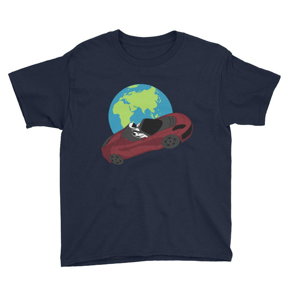 Kid's starman t-shirt Inspired by the SpaceX Falcon Heavy Starman in a Tesla launched by Elon Musk. This children's shirt has the astronaut mannequin driving a Tesla Roadster in space in front of earth. The shirt is colored navy