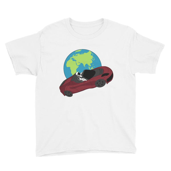 Kid's starman t-shirt Inspired by the SpaceX Falcon Heavy Starman in a Tesla launched by Elon Musk. This children's shirt has the astronaut mannequin driving a Tesla Roadster in space in front of earth. The shirt is colored white