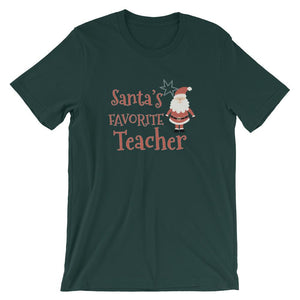 Santa's Favorite Teacher – Cute Teachers Christmas Shirt-Faculty Loungers