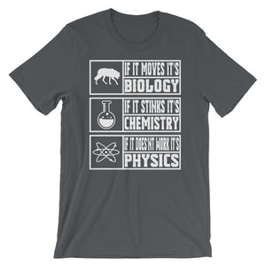 Science Humor Shirt - Biology, Chemistry, Physics-Faculty Loungers