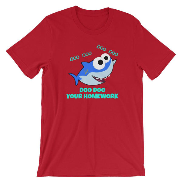 Shark Teacher Doo Doo Your Homework Shirt-Faculty Loungers