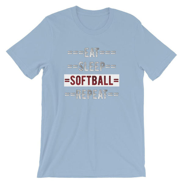 Softball Coach Short-Sleeve Gift T-Shirt - Eat Sleep Softball Repeat-Faculty Loungers