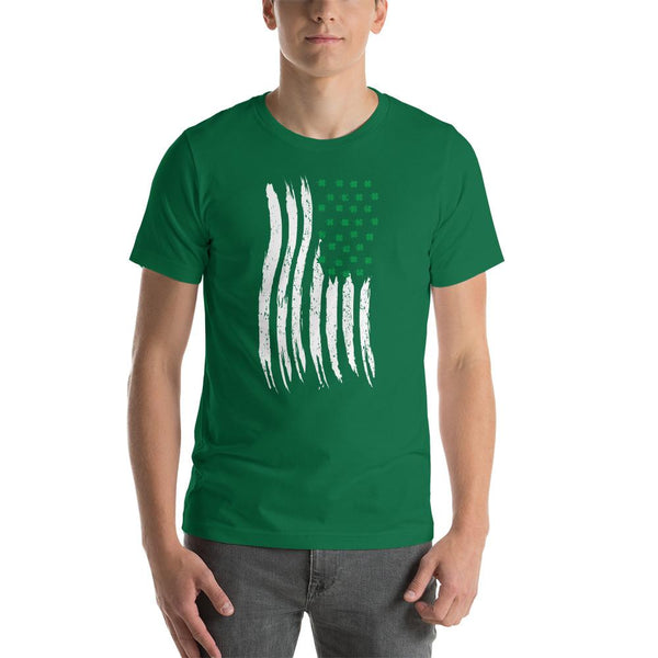 St Patrick's Day Irish American Flag T-Shirt, US Flag with Shamrocks, Vertical American Flag, St Patty's Day Shirt